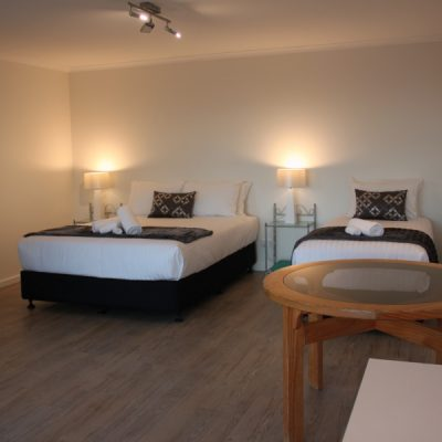Queen size & single bed feature downstairs
